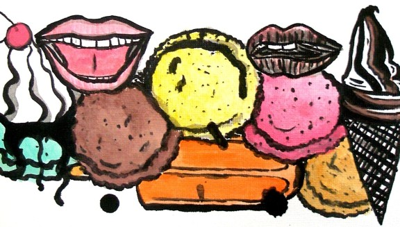 """""""no calor é bom sorver-te"""" -- ilustração da Bárbara Araújo"""